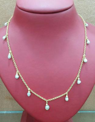 18 inch Natural Basra Dangle Pearl Necklace