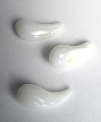 3 Curved Drop Clam Pearls 19+ carats Total 18+mm