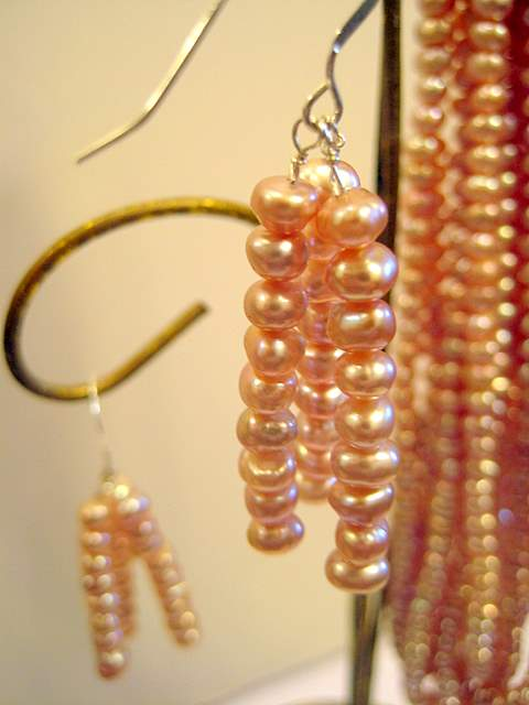 3 strand lavender drop earrings