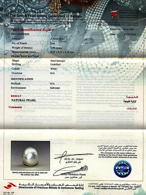 8mm Natural Basra Pearl Undrilled - Certificate