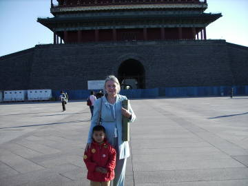 Kari and boy in Beijing
