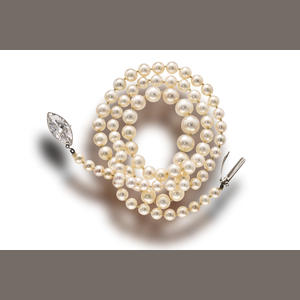 A belle époque natural pearl and diamond necklace
