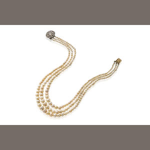 3 Strands Natural Pearl Necklace