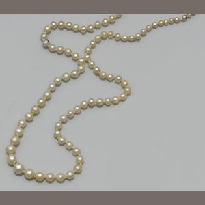 A single strand graduated mostly natural pearls necklace