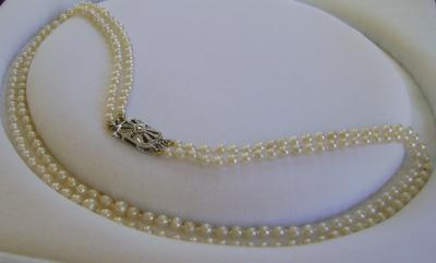 Antique Edwardian Double Strand Natural Pearl Necklace 9k