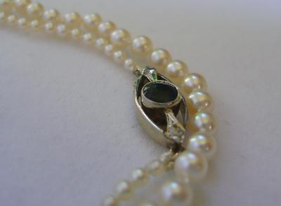 Antique Edwardian Natural Pearl Necklace, Blue Tourmaline Diamond Clasp