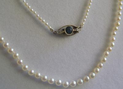 Antique Edwardian Natural Pearl Necklace, Blue Tourmaline Diamond Clasp