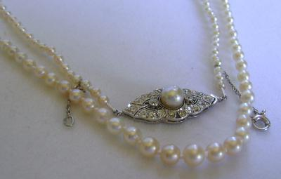 Antique Edwardian Natural Pearl Necklace, Platinum Diamond Clasp