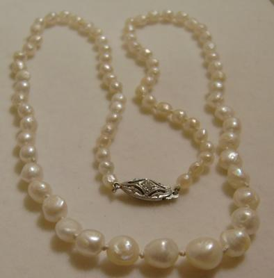 Antique Graduated Natural Mississippi Freshwater Pearl Necklace