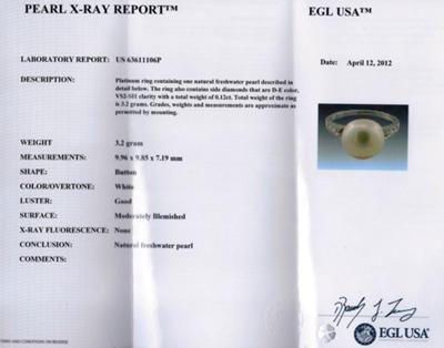 Certificate for Freshwater Pearl Platinum Diamond Ring