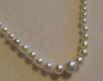 Antique Natural Pearl Necklace, 18K Diamond Flower Clasp