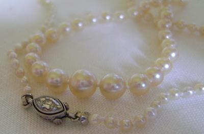 Antique Natural Pearl Necklace Marquise Diamond Platinum