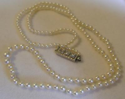 Antique Natural Pearl Necklace Platinum Diamond Clasp