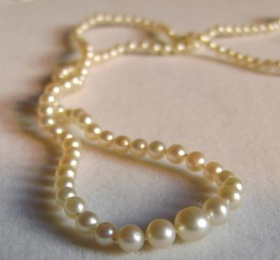 Antique Natural Pearl Necklace, Platinum/Diamond Clasp
