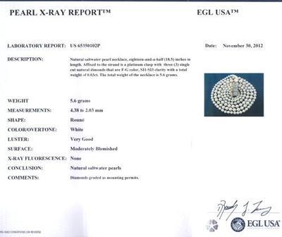 Antique Natural Pearl Necklace, Platinum/Diamond Clasp Certificate