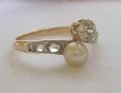 Antique Natural Saltwater Pearl Diamond 14K Gold & Silver Ring