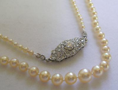 Antique Natural Saltwater Pearl Necklace Large Platinum
