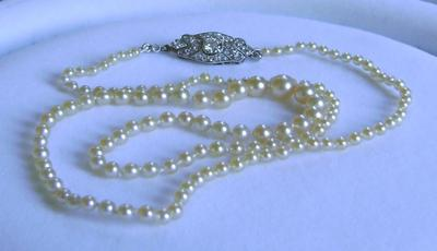 Antique Natural Saltwater Pearl Necklace, Large Platinum Diamond Clasp