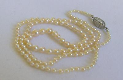 Antique Natural Saltwater Pearl Necklace, Platinum 10-Diamond Clasp