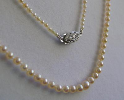 Antique Natural Saltwater Pearl Necklace, Platinum 10-Diamond Clasp