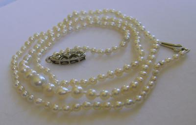 Antique Natural Saltwater White Pearl Necklace, 18K Diamond Clasp