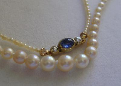 Antique Victorian Natural Saltwater Pearl Necklace, 18K Gold Sapphire Rose Diamond Clasp