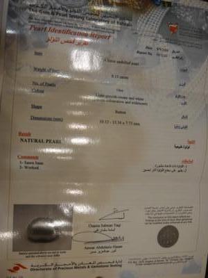 Bahrain Certificate of 8.15 carat natural pearl