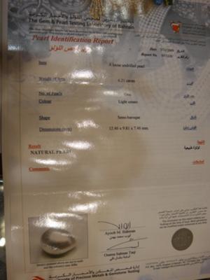 6.21carat Bahrain Certified Natural Pearl