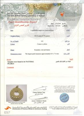 Certificate for natural pearl necklace