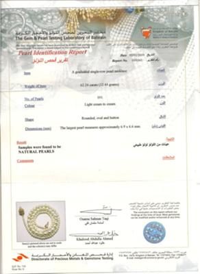 Bahrain Pearl Lab certificate for natural Basra pearl necklace