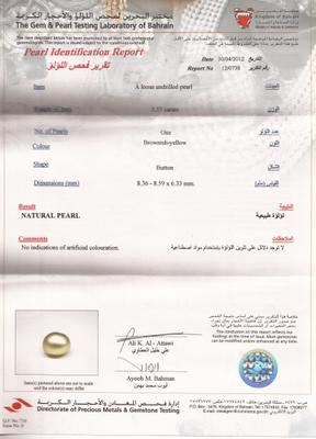 Basra Loose Natural Pearl & 3.33 Carats - certificate