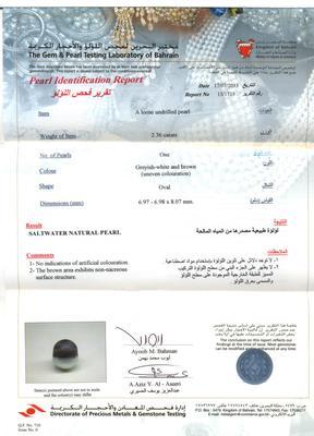 Basra Pearl 2.36 carats Certificate