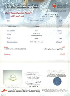 Basra natural pearl 3.63 carats certificate
