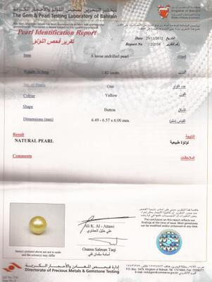 Natural Pearl & 1.82 Carats - certificate