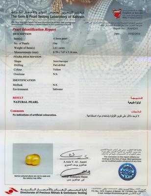 Certificate - Basra Natural Pearl Pendant - 8mm in 18K Gold
