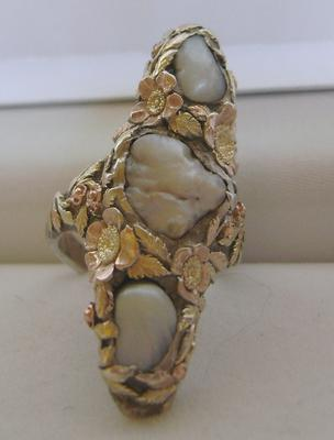 BIG Antique Natural Freshwater Pearl Silver & 14K Gold Ring; Arts & Crafts ca. 1905