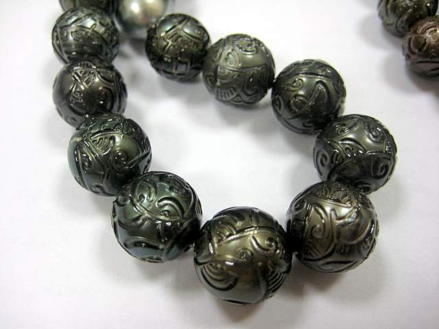 Black Carved Pearls