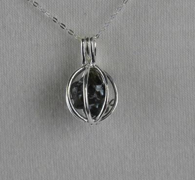 Black Pearl Cage Pendant Sterling Silver