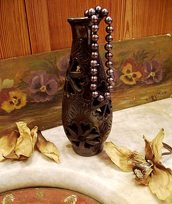 Black pearls dried magnolia petals Oaxaca vase pansy oil painting