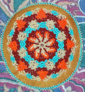 Blue Orange Brown White Beading