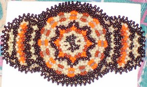 Brown White Orange Beading