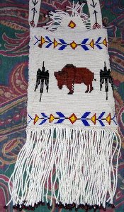 Buffalo Beaded Purse Closeup