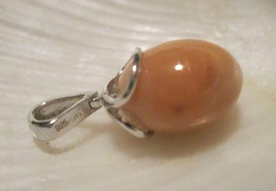 Cinnamon Colored Conch Pearl Pendant 10.05 carats on Sterling Silver