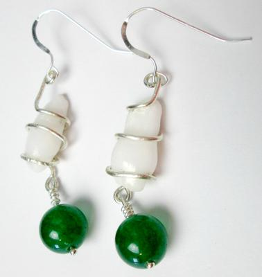 Clam Pearl Earrings with Green Stone