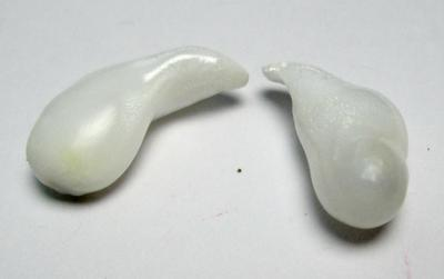 Clam Pearl Pair Curved Drops Good Matching Full Flame