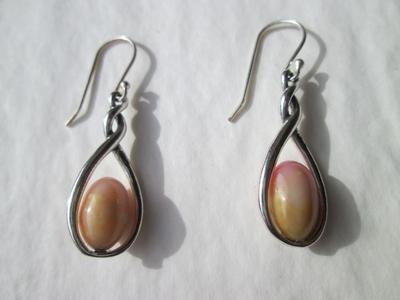 Conch Pearl Earrings on Sterling Silver 6+ Carats Total