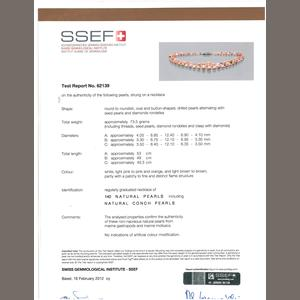 Conch Pearl Necklace SSEF certificate