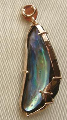Double abalone pearl pendant back view