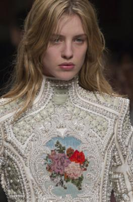 <i>Photo: Associated Press</I> Balmain's Olivier Rousteing used dazzling embroideries of everything from crystals to pearls in his over-the-top pieces.
