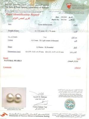 Earrings with Natural Pearl and Diamonds Certificate